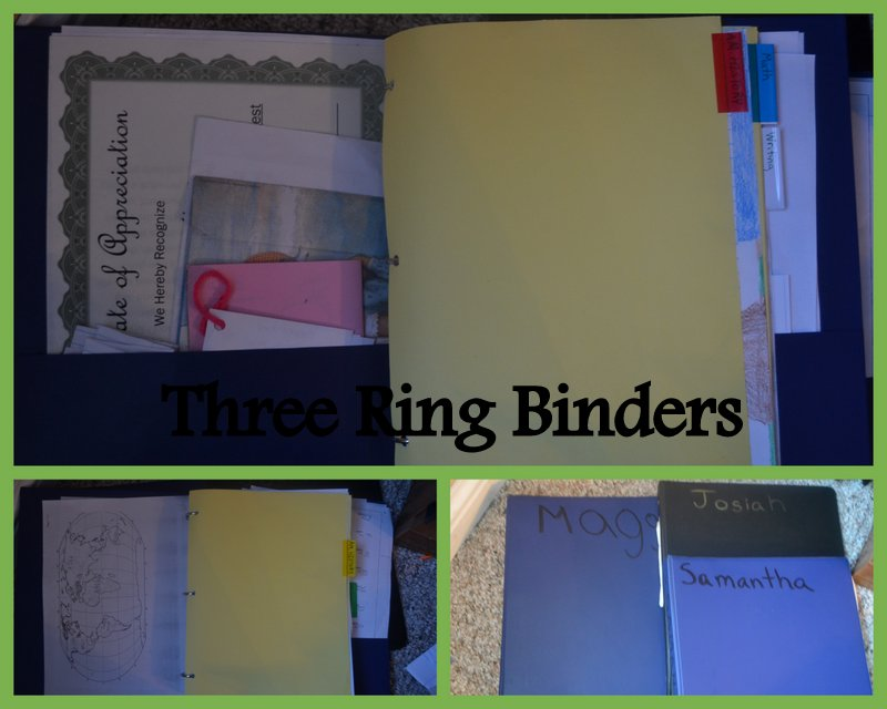Each child has a binder that holds all of their completed work and their weekly assignment lists.